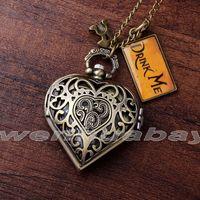 best alice - Fashion Bronze Heart Shape Hollow Case Drink Me Alice In Wonderland Pocket Watch Necklace Women Lady Girl Best Xmas Gift DRINK71