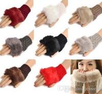 Compra Guantes de punto-Punto Faux Rabbit Guantes de piel Mitones Mujer Niña invierno brazo longitud Warmer al aire libre Fingerless guantes Solid partido favor regalo de Navidad