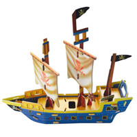 Wholesale MICHLEY D Pirate Ship Puzzle Jigsaw Foam Pirate Ship for Kids Education Boat Model Boys Gift T0159 paomochuan