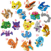 Wholesale Poke Diamond Building Blocks Styles Pikachu Toys Pikachu Eevee Charmander Gengar Brick Toys Anime Building Blocks