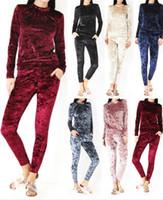 Wholesale women velvet tracksuit pieces wear jogging suit Womens Casual Sweatshirt Pants Sets Tracksuit Jogging Sport Suit color LJJK629