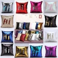 Wholesale Sequin Mermaid Pillow Case Glitter Reversible Sofa Cushion Cover Magic Glamour Pillow Case Mermaid Bright Pillow Covers Cafe Home Decor p