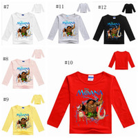 Wholesale Girls Moana T shirts Moana Cartoon Tops Troll Moana Shirts Kids Long Sleeve T shirts Summer Tees Cotton Fashion Tanks Baby Kids Cothing G85