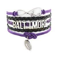 Charm Bracelets baltimore raven football - Custom Infinity Love Baltimore Football Wrap Bracelet Best Gift Multilayer Ravens Football Purple Black Leather Fashion Jewelry