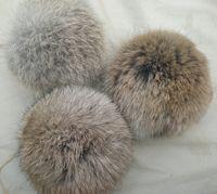 Wholesale 8CM natural brown colour rabbit fur pom poms garments accessories shoes accessories hat accessory set