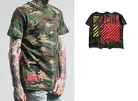 Men Crew Neck Short Sleeve Hot mens cotton 2 colors camouflage OFF WHITE Camo stripe offset print painting short sleeve T-shirt Tees