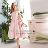 acrylic portraits - Real Photos Tea Length Elegant Prom Dresses Sweetheart Off the Shoulder Evening Party Dress A Line Blush Pink Short Prom Gowns Cheap