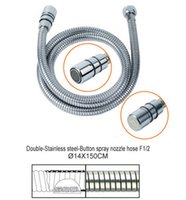 Wholesale 150cm Double Button Stainless steel spray nozzle F1 Chrome Flexible Hose Bathroom shower Hose Water Hose TP D