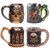 ancient steel - 12style D Skull wolf king mark cup restoring ancient ways resin stainless steel coffee cup of water mug price DHL free