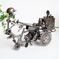 antique toy tractor - 23 CM Color Electroplating Vintage Hand Made Metal Art Craft Bar Home Decoration Tractor Model Toy