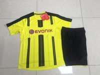 Wholesale DHL Thai B quality REUS DORTMUND Home Yellow Kit Jersey and Short
