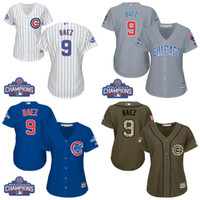 Wholesale Women s Chicago Cubs Javier Baez Authentic White Home Blue Grey Army Green World Series Champions Cool Base MLB Jersey