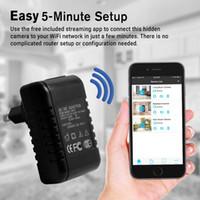 al por mayor cámaras de internet-¡Venta! 1080P HD WiFi Internet Streaming Adaptador de CA Cámara oculta Nanny Cam para iPhone iOS y Android Compatible PC