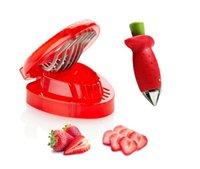 Wholesale Simply Slice Stainless Steel Blade Strawberry Slicer Strawberry Berry Stem Leaves Huller TOP1700zz