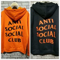 Wholesale High Quality Anti Social Social Club Hoodie Orange Black For Guys Paranoid ASSC Hooded Sweatshirt Flocking Male Female