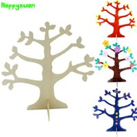 Unisex 5-7 Years White 5pcs pack DIY White Mold Wood Wisdom Tree Painting Kindergarten DIY Painted Creative Art Materials kids