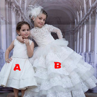 Wholesale Ball Gown High Neck Flower Girl Dresses Elegant White Appliques Long Sleeve Girls First Communion Dress Pageant Dress