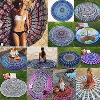 venda por atacado toalhas de banho-Round Mandala Indian Tapestry toalha de praia Bikini Beach Cover Ups Bohemian Hippie Beachwear Praia Sarongs Shawl toalha de banho Yoga tapete OOA1254