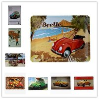 Wholesale Retro Vintage Metal Sign Plaque Beetle Car Vintage Horizontal Tin sign Pub Cafe Wall Decoration Craft gifts inch