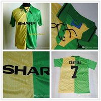 Wholesale _ MAN retro soccer jerseys away green Top thai AAA quality custom name number soccer uniforms football shirts
