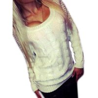 Wholesale Stylish Clothes S XL Women Long Sleeve Loose Cardigan Knitted Hollow out Sweater Backless Knitwear Outwear Coat For lady