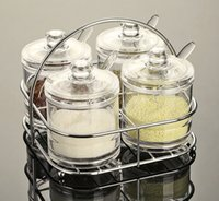 Wholesale New Arrival Set Transparent Clear Acrylic Seasoning Box Spices Pepper Shakers with Spoon Kitchen Accessories