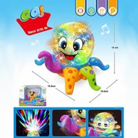 Wholesale Lovely Disco cartoon Octopus D ligthts universal music kid Early education puzzle toys can Rotate