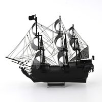 Wholesale Colorized Black Pearl Metal D Puzzle Pirates of the Caribbean Laser Cutting Model Children DIY Assembly Toys Jigsaw for Adult