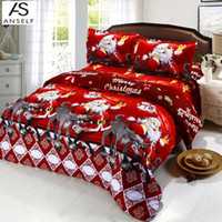 Wholesale Christmas Santa Claus Bedding Set Bedclothes Polyester Bed Set Full Size Quilt Duvet Cover Bedsheet Cotton Bedcover