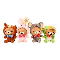 achat en gros de rilakkuma gros en peluche-Livraison gratuite 12pcs / lot de nouvelles poupées de Rilakkuma portant des costumes de mascotte de zodiaque, poupées de peluche enchantées de jouet de peluche avec le suceur