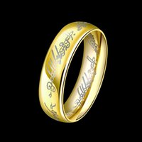 Wholesale Fashion Lord of The Rings For Men Special Gold Plated With Wizard Letter Carving Unique Jewelry For Man Gifts RG