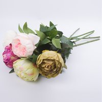 Wholesale Vintage fake Flower European Artificial Flowers Vivid artificial Peony Wedding xmas ornament Home Party Decoration
