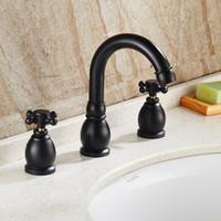 Wholesale Black Antique Handle Waterfall Bathroom Basin Sink Faucet Deck Mounted Bathtub Mixer Tap Faucet