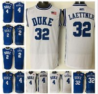 Wholesale A High Quality Men Newest Duke Blue Devils Jersey JJ Redick Quinn Cook Christian Laettner Blue White Jerseys