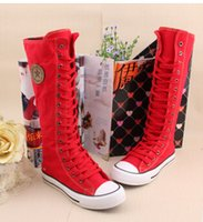 Wholesale Popular Hot Sale Ladies cotton Girls Canvas Boots Women Punk EMO Knee High Sneakers Fashion Causal Shoes Gothic lace up Boots