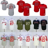 achat en gros de anges de mode-Los Angeles Angels d'Anaheim # 27 Mike Trout Blanc Pull Down Rouge Fashion Stars Gris Beige Army Green La Stitched MLB Baseball Maillots