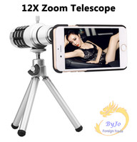 Wholesale 12X Optical Zoom Telescope Camera lens kits magnifier with tripod back case for samsung I9300 I9500 S4 s5 S6 S6edge iPhone6 S P SpPlus
