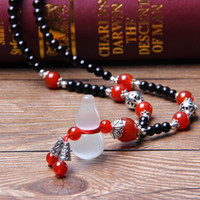beaded treasures - factory Korean explosion models black sweater chain with agate treasure gourd spring autumn lady essential necklace cm length