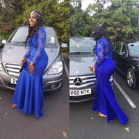 Wholesale Long Sleeve Prom Dresses Black Girl Africa Women Formal Evening Party Gown Pageant Dress Sheer Neck Zipper Back Royal Blue Lace