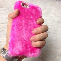al por mayor móviles de samsung de imitación-Nueva piel de conejo de imitación de peluche cálido teléfono casos Funda protectora para Iphone7 más Iphone6 Samsung S7 borde S6 Apple Samsung Series