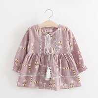 Wholesale Cute Girls Full Cartoon Cat Print Dresses Spring Girls Boutique Clothing Age Years Kids Long Sleeves Dresses Korean Style
