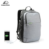 Backpack Style Men Plain Wholesale- Kingsons Brand External USB Charge Laptop Backpack Anti-theft Notebook Computer Bag 15.6 inch for Business Men Women
