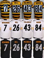 Wholesale 2017 New Elite Football Stitched Men s Steelers Ben Roethlisberger Le Veon Bell Troy Polamalu Antonio Brown Jerseys Mix Order
