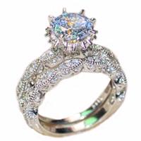 Tamaño 5-10 joyas de moda femenina S925 flor de plata de ley blanco diamante Zircon Gemstone anillos de compromiso de boda pareja anillos de banda conjunto
