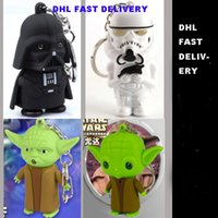 Wholesale High quality Star Wars Darth Vader Yoda Key chain Toys Star War Figures LED Keychain Pendant Accessories free DHL