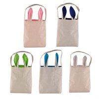 Wholesale New Fashion Easter Bunny Ears Bag Jute Cloth Material Gift Bags Easter Children s candy bag Easter Handbag For Child Fine Festival Gift