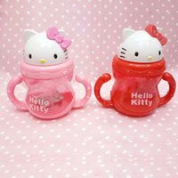 Wholesale DISNE Hello Kitty Non spillable mug bottle with a straw Drinking Bottle Folding Straw School Childens Cup Sipper Bottle Feeding