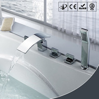 5 holes b deck - Deck Mounted Hut Tub Faucets Handles Holes Chrome Finished Bathtub Faucet Hot and Cold Waterfall Hand Shower Faucet