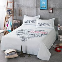 Wholesale cartoon cotton sheet set sheet pillowcases letters flowers printed for children and adult simple style