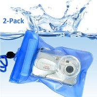 Precio de Camera underwater-2-Pack Azul Impermeable Cámara Digital Underwater Housing Case Bolsa Bolsa Seca - Envío Gratis
